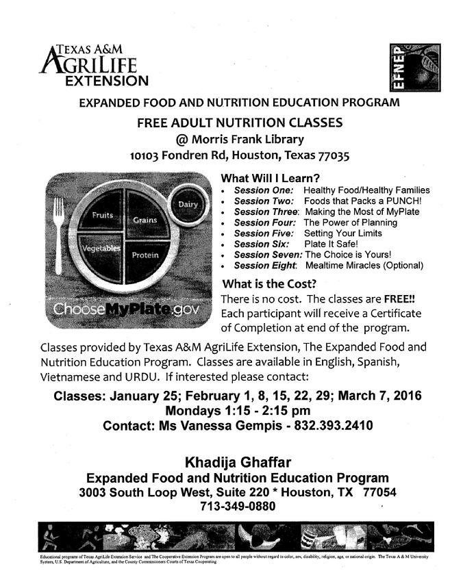 FREE Adult Nutrition Classes Monday Afternoon in February 2016